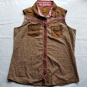 Pink and Brown Aura Wrangler Sleeveless Top